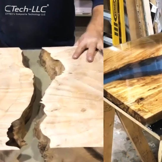 epoxy-resin-application-on-Woodworking-Project-CTech-LLC